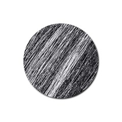 Black and White decorative pattern Rubber Coaster (Round)