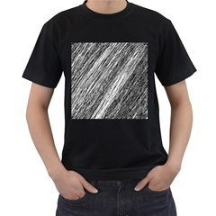 Black and White decorative pattern Men s T-Shirt (Black) (Two Sided)