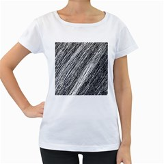 Black and White decorative pattern Women s Loose-Fit T-Shirt (White)