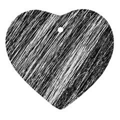 Black and White decorative pattern Heart Ornament (2 Sides)