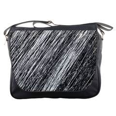 Black and White decorative pattern Messenger Bags