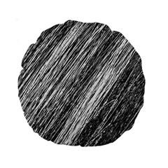 Black and White decorative pattern Standard 15  Premium Round Cushions