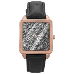 Black and White decorative pattern Rose Gold Leather Watch