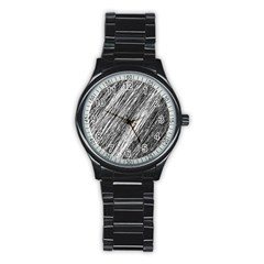 Black and White decorative pattern Stainless Steel Round Watch