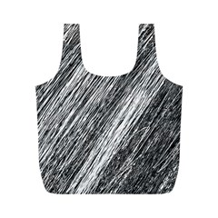 Black and White decorative pattern Full Print Recycle Bags (M)