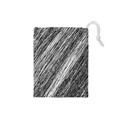 Black and White decorative pattern Drawstring Pouches (Small)