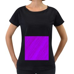 Purple pattern Women s Loose-Fit T-Shirt (Black)