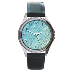 Light blue pattern Round Metal Watch