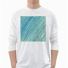 Light blue pattern White Long Sleeve T-Shirts