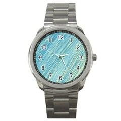 Light blue pattern Sport Metal Watch