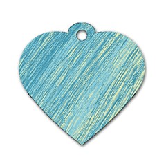 Light blue pattern Dog Tag Heart (One Side)