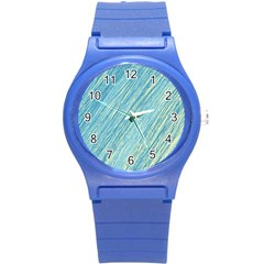 Light blue pattern Round Plastic Sport Watch (S)