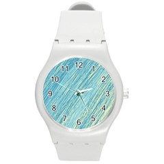 Light blue pattern Round Plastic Sport Watch (M)