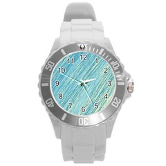 Light blue pattern Round Plastic Sport Watch (L)