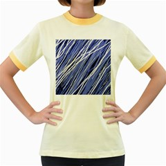 Blue elegant pattern Women s Fitted Ringer T-Shirts