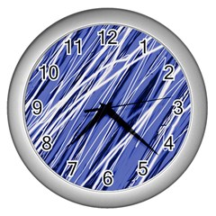 Blue elegant pattern Wall Clocks (Silver)