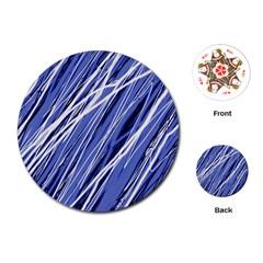 Blue elegant pattern Playing Cards (Round)
