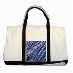 Blue elegant pattern Two Tone Tote Bag