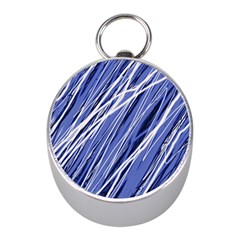 Blue elegant pattern Mini Silver Compasses