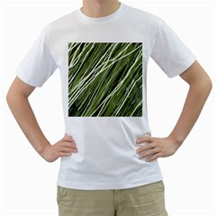 Green decorative pattern Men s T-Shirt (White) (Two Sided)