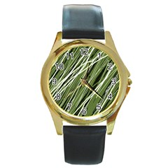 Green decorative pattern Round Gold Metal Watch