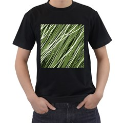 Green decorative pattern Men s T-Shirt (Black) (Two Sided)