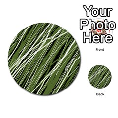 Green decorative pattern Multi-purpose Cards (Round)