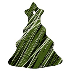Green decorative pattern Christmas Tree Ornament (2 Sides)