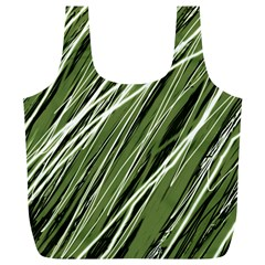 Green decorative pattern Full Print Recycle Bags (L)