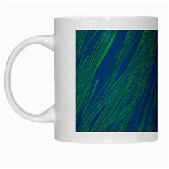 Green Pattern White Mugs