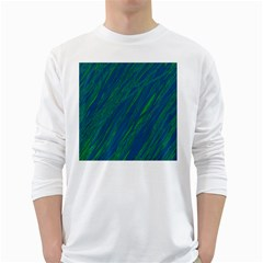 Green pattern White Long Sleeve T-Shirts