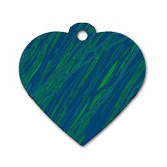 Green pattern Dog Tag Heart (One Side)