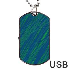 Green pattern Dog Tag USB Flash (One Side)