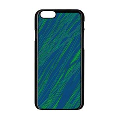 Green pattern Apple iPhone 6/6S Black Enamel Case