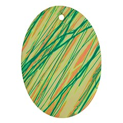 Green and orange pattern Ornament (Oval)