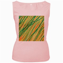 Green and orange pattern Women s Pink Tank Top