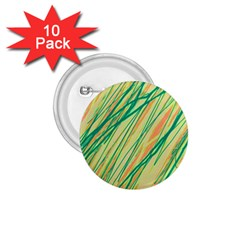 Green and orange pattern 1.75  Buttons (10 pack)