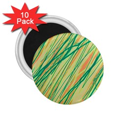 Green and orange pattern 2.25  Magnets (10 pack)
