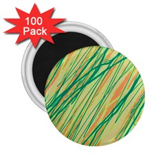 Green and orange pattern 2.25  Magnets (100 pack)