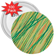 Green and orange pattern 3  Buttons (100 pack)