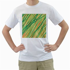 Green and orange pattern Men s T-Shirt (White) (Two Sided)
