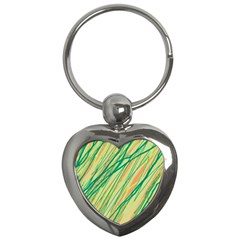 Green and orange pattern Key Chains (Heart)