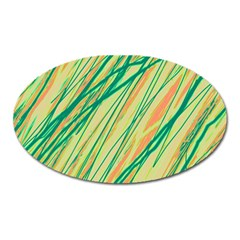 Green and orange pattern Oval Magnet