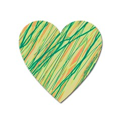 Green and orange pattern Heart Magnet
