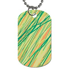 Green and orange pattern Dog Tag (One Side)