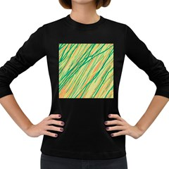 Green and orange pattern Women s Long Sleeve Dark T-Shirts