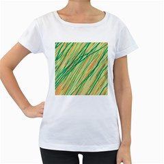 Green and orange pattern Women s Loose-Fit T-Shirt (White)