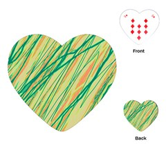 Green and orange pattern Playing Cards (Heart)