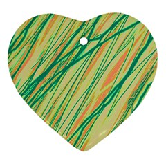 Green and orange pattern Heart Ornament (2 Sides)