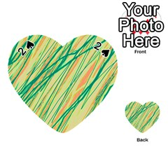 Green and orange pattern Playing Cards 54 (Heart)
